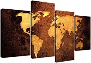 Large Vintage World Map Canvas Wall Art Pictures in Golden Brown Cream and Beige - Modern Split Set of 4 Prints - Multi Panel - XL - 130cm Wide