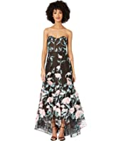 Marchesa Notte - Strapless Hi-Lo Embroidered Gown with 3D Flowers and Corseted Bodice