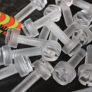 Pack of 60 Transparent Clear Plastic Acrylic Thumbscrews slotted+knurled M5 x 25mm 13//64 x 1