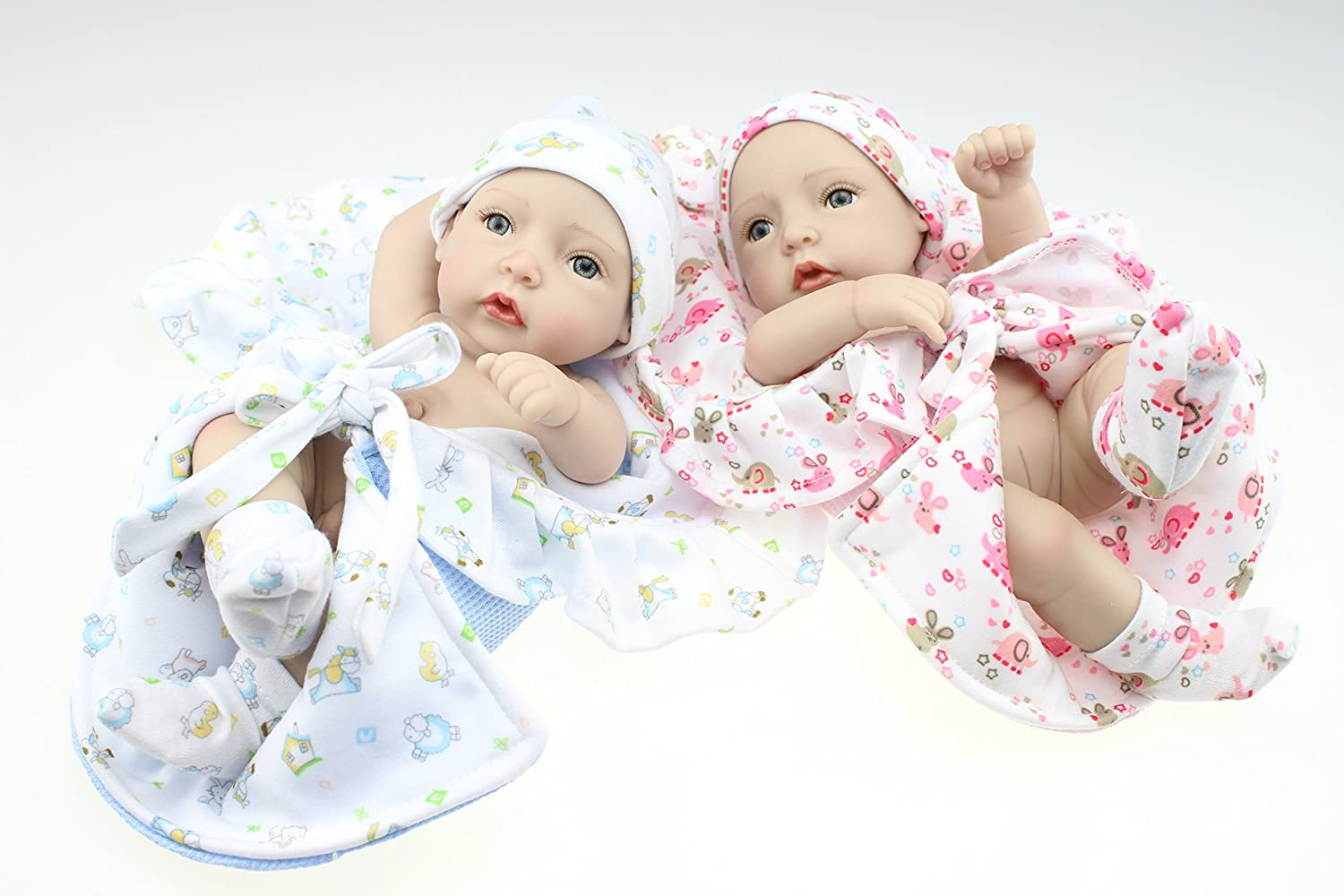 LILITH Mini 11  Shower Reborn Twins Dolls Full Silicone Vinyl Baby Doll Boy and Girl Toys