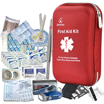 First Aid Kit - 163 Piece Waterproof Portable Essential Injuries Medical Equipment Kits : for Car Kitchen Camping Travel Office Sports and Home