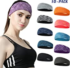 DASUTA Set of 10 Women's Yoga Sport Athletic Headband for Running Sports Travel Fitness Elastic Wicking Workout Non Slip Lightweight Multi Headbands Headscarf fits All Men & Women (Style 2-10 Color)