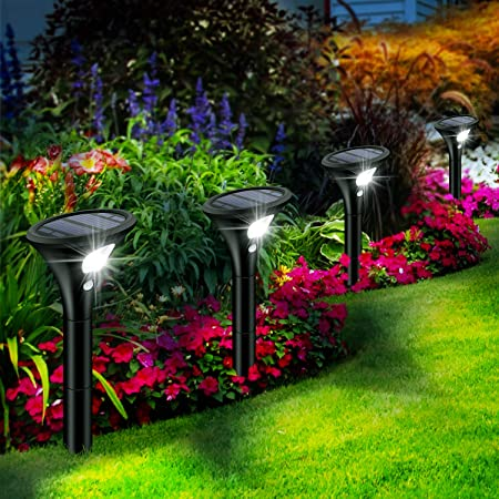 Leolee Lampe Solaire Extérieur, [4 Pack] Spot Solaire Extérieur avec Détecteur de Mouvement, LED Eclairage Solaire Exterieur Étanche IP65 2 Modes Sans Fil Lumière Sécurité pour Jardin, Chemin, Allée