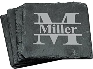 Custom Personalized Slate Drink Square Coasters Set of 4 - Monogrammed and Engraved for Free