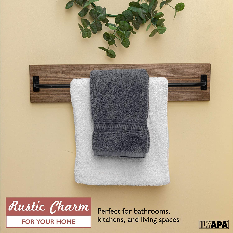 Wall Mounted Towel Rack with Barnwood /& Black Metal Bar 24x6 Inches Rustic Towel Bar for Bathroom Farmhouse Decor