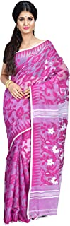 SareesofBengal Women's CottonSilk Handloom Jamdani Dhakai Saree Violet