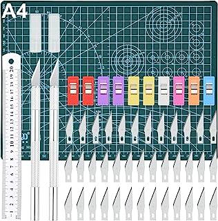 Cutter de Précision, GOLDGE Couteau pour Loisirs Créatifs Set, 2 Stylos Scalpel 42 Lames Tapis de Découpe Règle en Acier e...