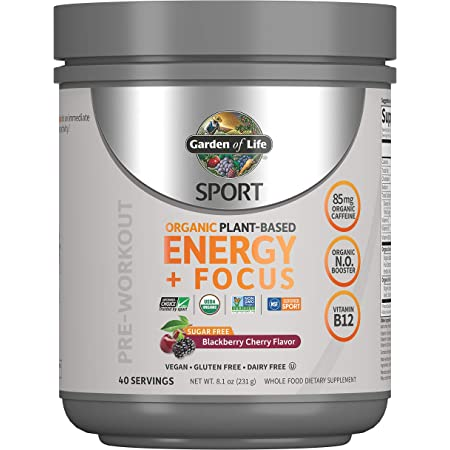 Garden of Life Sport Organic Plant-Based Energy + Focus Vegan Clean Pre Workout Powder, Sugar & Gluten Free BlackBerry Cherry with 85mg Caffeine, Natural NO Booster, B12, 40 Servings, 8.14 Oz