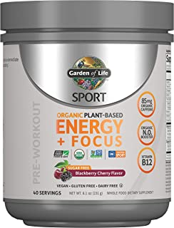 Garden of Life SPORT Organic Plant-Based Energy + Focus Vegan Pre Workout Powder, Sugar Free Blackberry Cherry - Clean Pre...