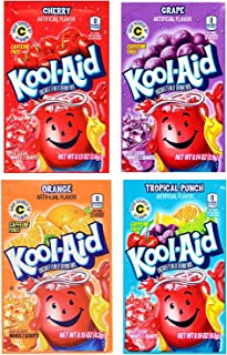 Kool-Aid Unsweetened Drink Mix Packets, Assorted Flavors - Tropical Punch, Orange, Cherry, Grape, 48 Packets