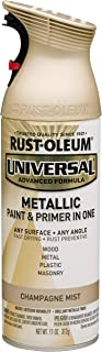 Rust-Oleum 261415 Universal All Surface Spray Paint 11 oz, Metallic Champagne Mist, Each, Gold