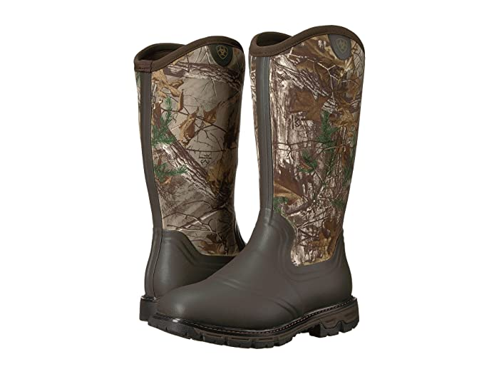 Ariat  Conquest Rubber Insulated (Dark Brown/Realtree Xtra) Mens Pull-on Boots