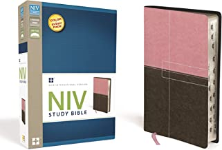 NIV Study Bible, Leathersoft, Pink/Brown, Red Letter Edition, Thumb Indexed
