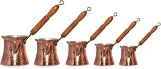 Turkish Solid Hammered Copper Greek Arabic Coffee Pot Stovetop Coffee Maker Cezve Ibrik Briki with Wooden Handle (5 Size)