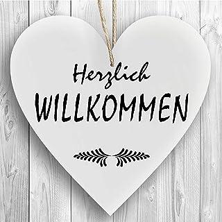 Herzschild Holzherz Holzschild 16 x 16 cm Herzlich Willkomme