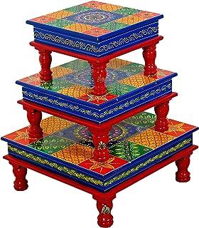 palm Wooden Decorative Bajot/Chowki (Multicolour) - Set of 3