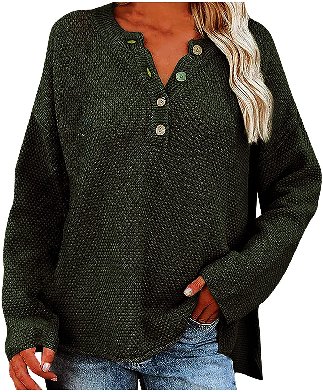 Women's Batwing Sleeve Knit Sweater Loose Fashion Long Sleeve V Neck Button Casual Jumper Tops Ladies Pullover Tops