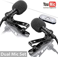 Dual Lavalier Microphone - 2 Lavalier Microphone - Lavalier Microphone Set - 2 Pack Microphone for Interview, Blog or Podcast
