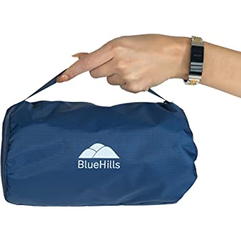 BlueHills Ultra Compact Travel Blanket Pillow in Portable Bag Case with Hand Luggage Belt & Backpack Clip Premium Cozy Soft Compact Pack Large Blanket for Airplane Flight Layover - Navy Blue C001