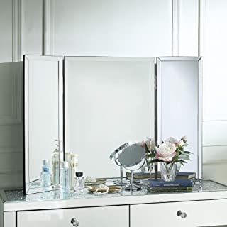 Inspired Home Tabletop Vanity Mirror - Design: Tanith | Tri-fold | Mirrored Frame | Free Standing or Wall Mounted | 28