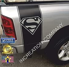 Any Truck Black Rear Side Bed Decals, Superman Logo off road Stripes Vinyl Stickers, Auto Graphics for Dodge Ram Dakota 1500 2500 Silverado, Sierra, Tacoma, Tundra, Colorado, F-150 Raptor F-250