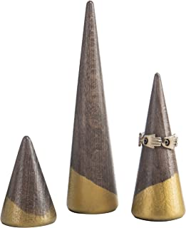 MyGift Wooden Cone Ring Holders with Gold-Tone Accents, Set of 3