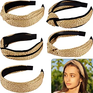 5 Pieces Straw Headband Knot Twisted Hairbands Wide Woven Headwear Retro Boho Hair Band for Girl Woman Hair Accessories