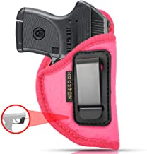 IWB Woman Pink Gun Holster - Houston - ECO Leather Concealed Carry Soft: Fits Any Small 380 with Laser, Keltec, Ruger LCP, Diamond Back, Small 25 & 22 Cal with Laser
