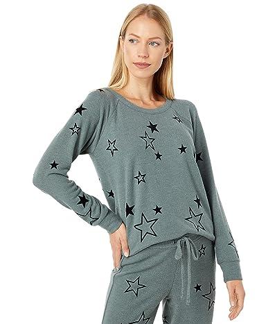 Chaser Velvet Stars Recycled Bliss Knit Raglan Pullover