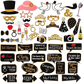 Wedding Party Photo Frame Booth Props Selfie Supply Decorations Just Married Set