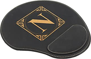 Custom Engraved and Personalized Mouse Pad with Wrist Rest Desk Accessories (Black with Gold)