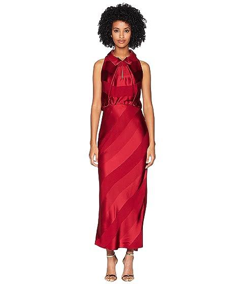 Zac Posen Stripe Satin Crepe Sleeveless Dress