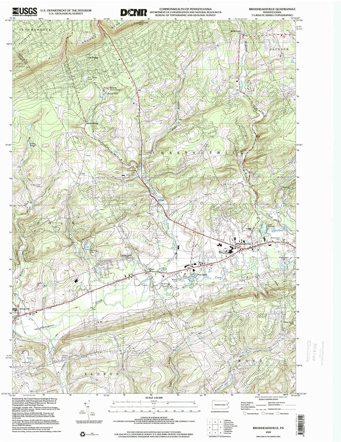 Brodheadsville PA topo map, 1 24000 Scale, 7.5 X 7.5 Minute, Historical, 1999, Updated 2001, 27 x 22.1 in
