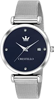 Crestello L105-BLU-CH Stainless Steel Chain Analog Wrist Watch for Women