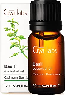 Gya Labs Basil Essential Oil - Mind Concentrator For Better Focus and Sore Free Body 10ml – 100 Pure Natural Therapeutic G...