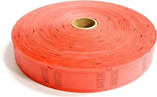 1 X 2000 Blank Red Single Roll Consecutively Numbered Raffle Tickets