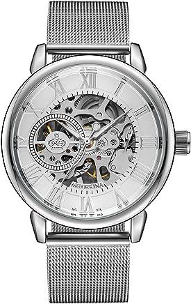 Sweetbless出品 腕時計 手巻き 3Dフルスケルトン おしゃれメンズ 重厚さと上品さを兼ね揃えたメンズ機械式モデル 時計 ホワイト