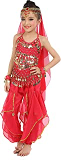Kids Girls Belly Dance Halter Top Harem Pants Costume Set Halloween Outfit with Head Veil Waist Chain and Bracelets