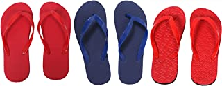 Red, Red And Dark Blue Combo 3 Women's House Slippers