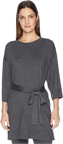 Lightweight Cozy Tencel Stretch Round Neck 3/4 Sleeve Tunic with Belt