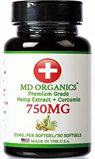 750mg (30ct) MD Organics Pure Organic Hemp Oil Curcumin Softgels Pain Stress Relief Sleep Mood Immune Support Skin Hair Vitamins Non GMO Turmeric Lab Tested for Purity Inflammation Pills Capsules