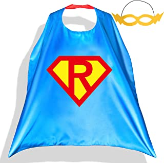 Superhero Capes with Felt Masks for Kids Super Hero Diamond Costume Cartoon Pretend Play Dress Up Outfit 26 Letters