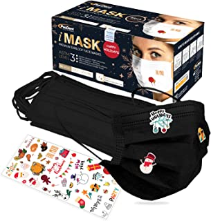 Pac-Dent iMask ASTM Level 3, 3 Ply Disposable Face Masks, Holiday Themed Mask Stickers Included, Black, 50-Pack
