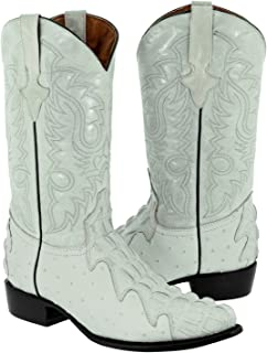 Men's Crocodile & Ostrich Design Leather Cowboy Boots