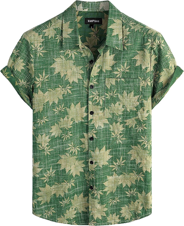 VATPAVE Mens Front Pocket Hawaiian Shirts Casual Short Sleeve Button Down Beach Shirts