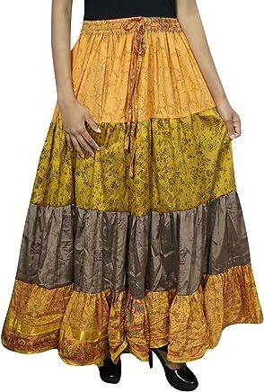 Mogul Interior Womens Maxi Skirt Sari Orange Boho Festival Tiered Flare Skirts OneSize