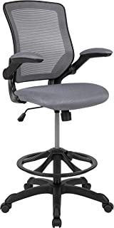 Flash Furniture Mid-Back Dark Gray Mesh Ergonomic Drafting Chair with Adjustable Foot Ring and Flip-Up Arms -