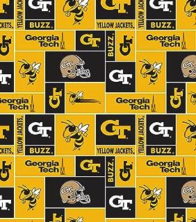 College Georgia Tech University Yellowjackets Print Fleece Fabric By the Yard