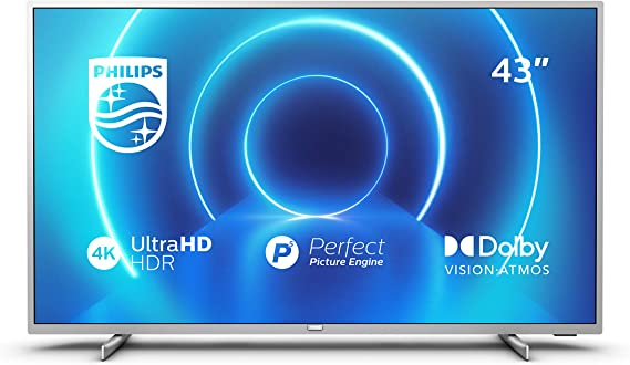 Philips 43PUS7555/12 Televisor 4K UHD de 108 cm (43 Pulgadas) (4K UHD, P5 Picture Engine, Dolby Vision, Dolby Atmos, HDR 10+, Saphi Smart TV, HDMI, USB), Color Plata (Modelo de 2020/2021)