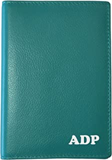 Personalized Monogrammed Teal Leather RFID Passport Wallet